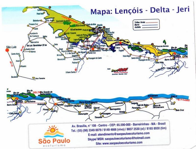Carte de la région du delta de Jericocoara