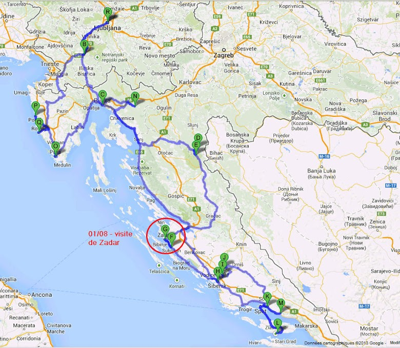 itinéraire croatie
